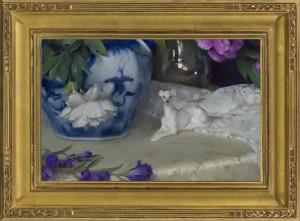 Peonies with Porcelain Dog, in AM5VC frame